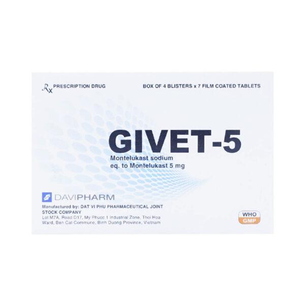 Thuốc Givet 5 Hộp 28 Viên - Điều Trị Hen Phế Quản