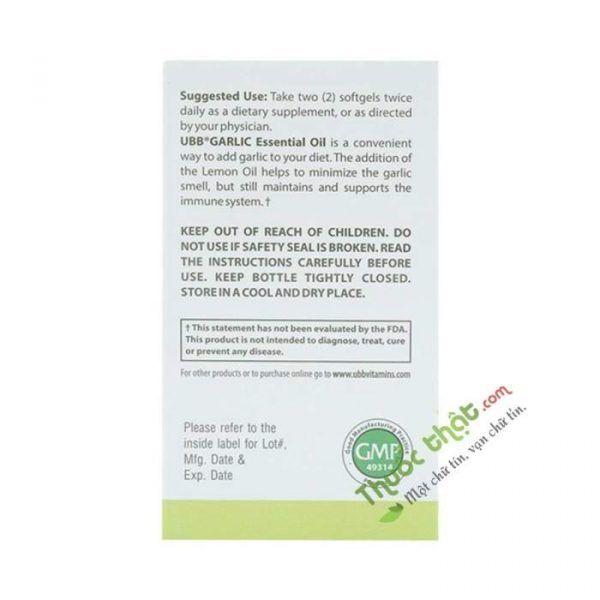 UBB Garlic Essential Oil  Lọ 100 Viên - Trị CảmCúm
