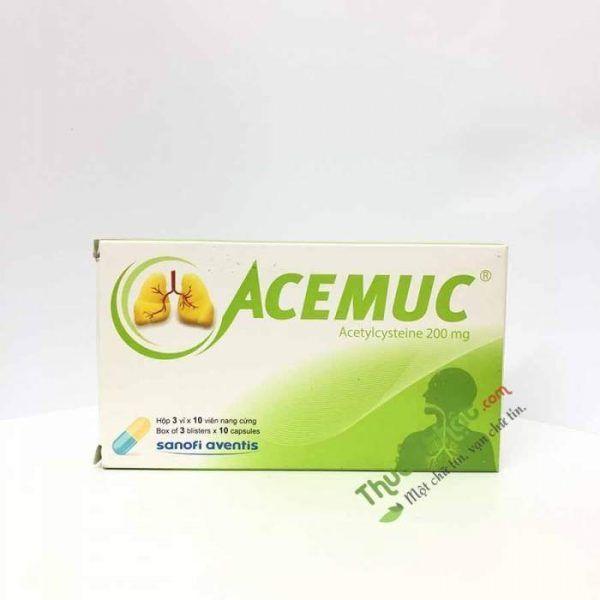 Acemuc 200mg Hộp 30 viên - Tiêu đờm, loãng dịch