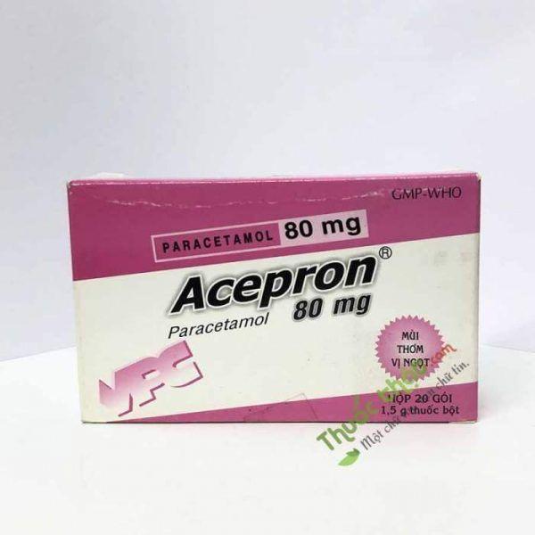 Acepron 80mg Hộp 20 gói - Giảm đau hạ sốt.