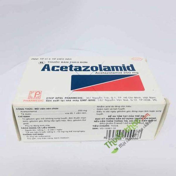 Acetazolamid 250mg Hộp 100 viên - Hỗ trợ điều trị tăng nhãn áp