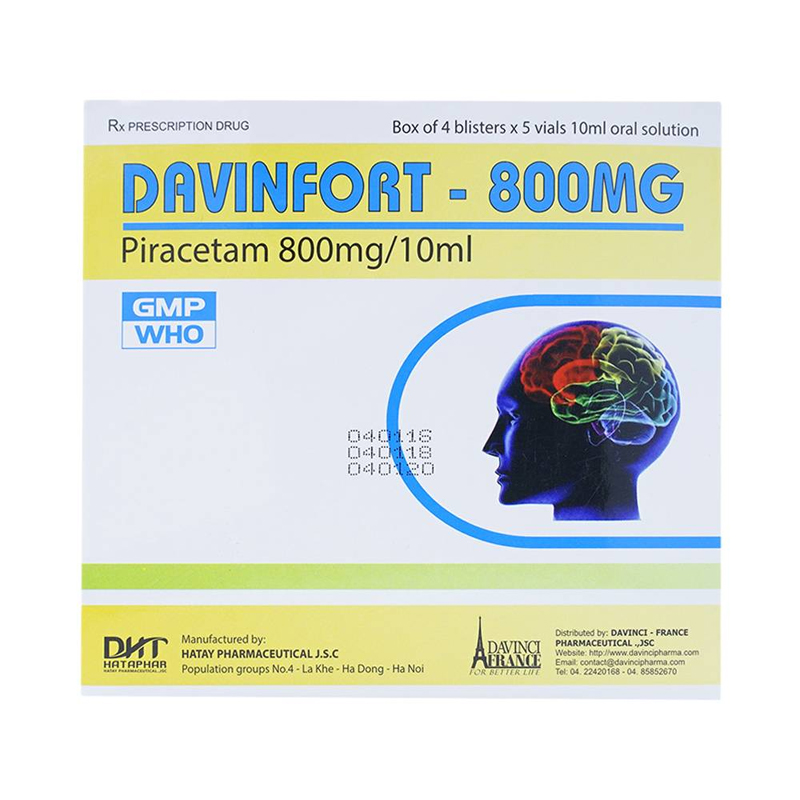 Davinfort Hộp 20 Ống – Điều Trị Bệnh Do Tổn Thương Não