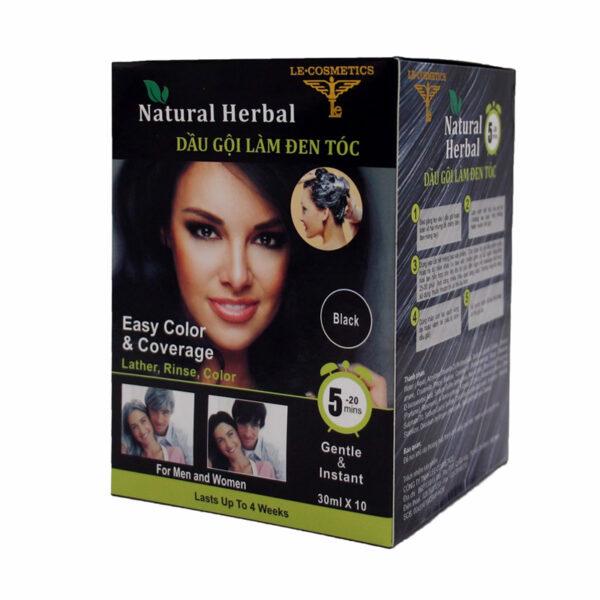 Dầu Gội Làm Đen Tóc Natural Herbal - Hộp 10 Gói