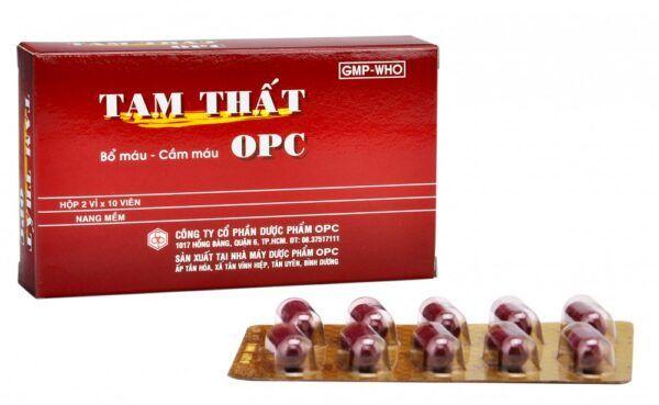 Tam thất OPC Hộp 20 viên -  Cầm máu, lưu thông tuần hoàn