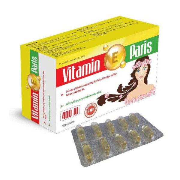 Vitamin E Paris-Hộp 30 Viên-Giúp Đẹp Da, Chống Lão Hóa