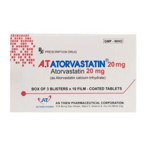 A.T Atorvastatin 20 Hộp 30 Viên - Giảm Cholesterol Toàn Phần