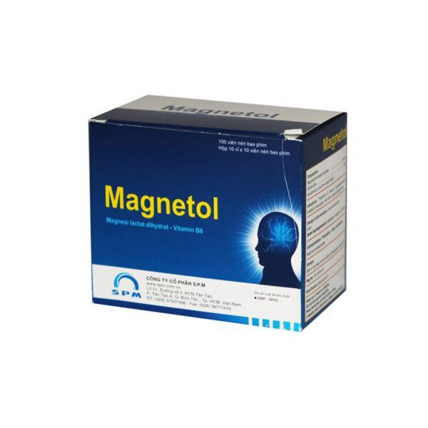 Magnetol Hộp 100 Viên - Điều Trị Thiếu Magie Nặng
