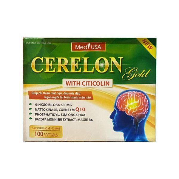 Cerelon Gold Hộp 100 Viên - Cải Thiện Mất Ngủ, Đau Nửa Đầu & Ngăn Ngừa Tai Biến