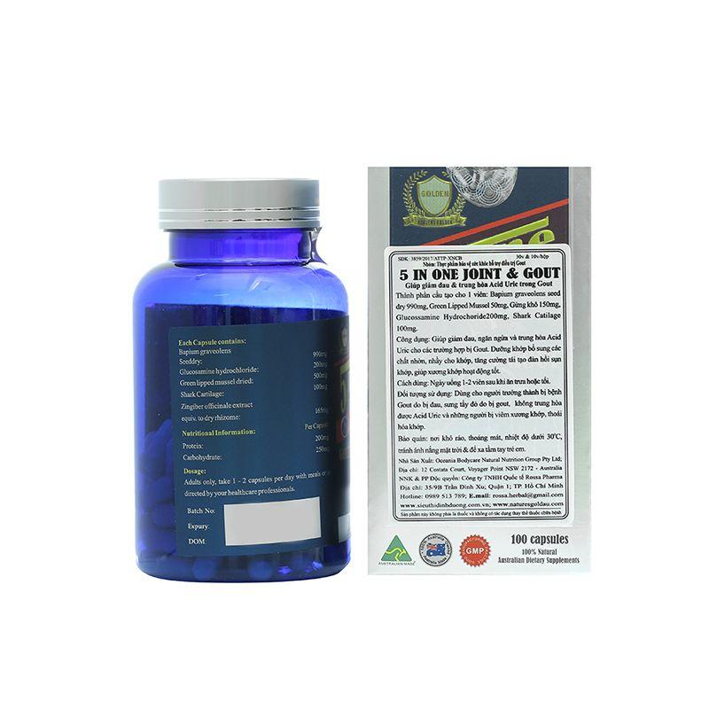 Joint & Gout 5 In 1 Lọ 100 Viên - Thành phần công dụng