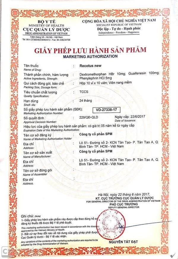 Recotus New Hộp 100 Viên - Giúp Long Đờm, Giảm Ho