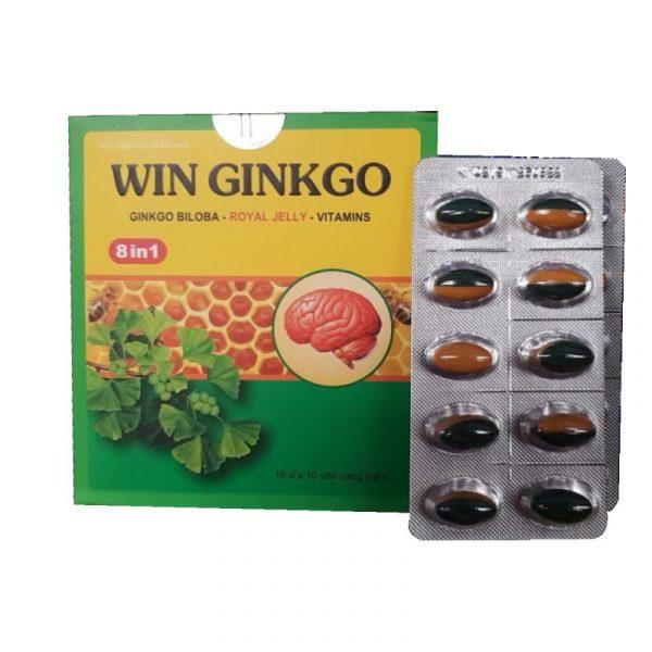 Win Ginkgo Hộp 100 Viên -  Hỗ Trợ Tăng Cường Lưu Thông Máu Não