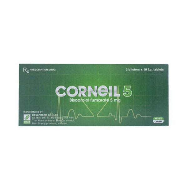 Corneil 5 Hộp 30 Viên - Điều Trị Cao Huyết Áp, Đau Thắt Ngực, Suy Tim