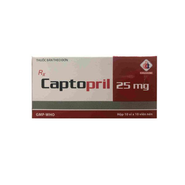 Captopril 25mg Hộp 100 Viên - Thuốc Điều Trị Huyết Áp Cao