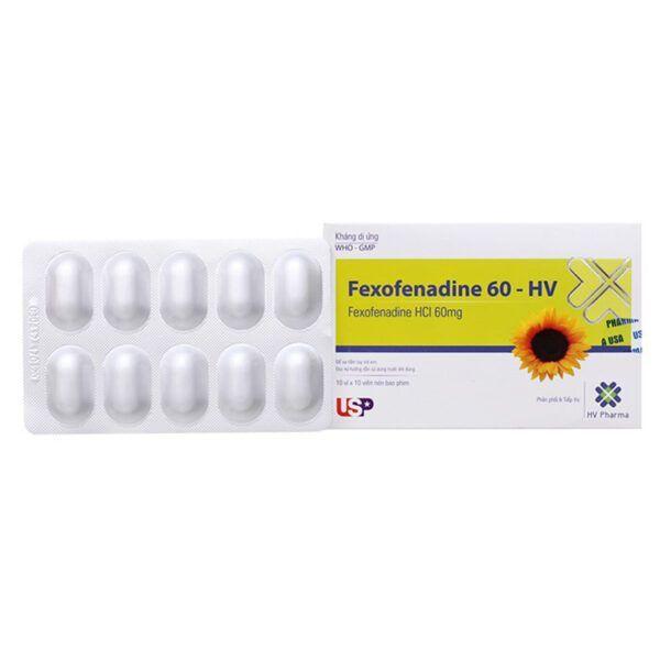 Fexofenadine 60 HV Hộp 100 Viên - Làm Giảm Triệu Chứng Viêm Mũi Dị Ứng