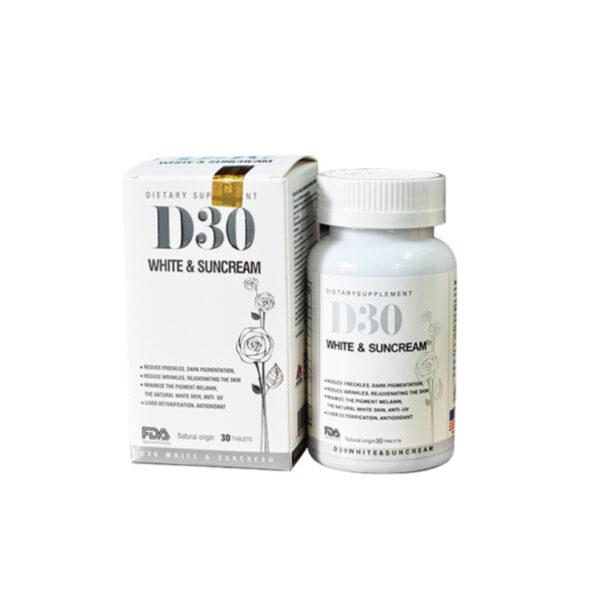D30 White & Suncream Lọ 30 Viên - Viên Uống Trắng Da