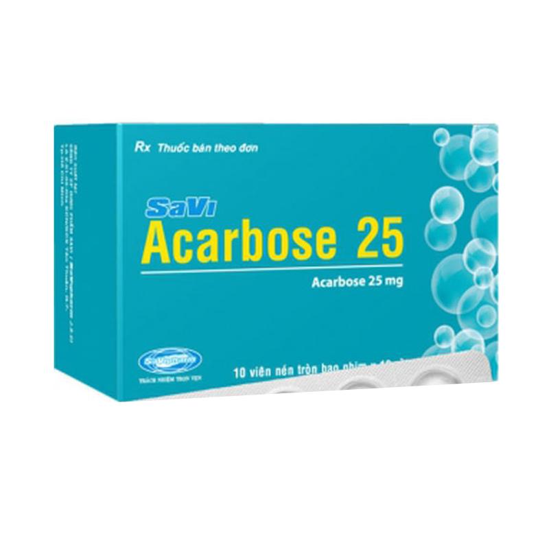 SaVi Acarbose 25 Hộp 100 Viên