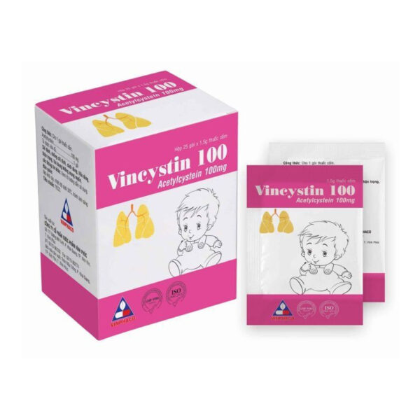 Vincystin 100 Hộp 25 Gói - Thuốc Long Đờm