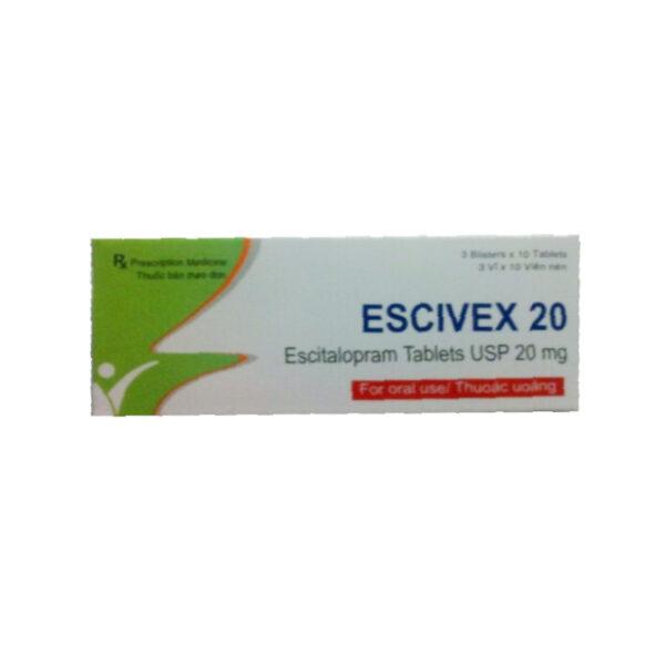 Thuốc Escivex 20 - Hộp 30 Viên - Điều Trị Chứng Trầm Cảm