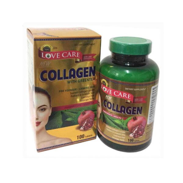 Love Care New Collagen With Greentea - Lọ 100 Viên - Hỗ Trợ Trị Nám