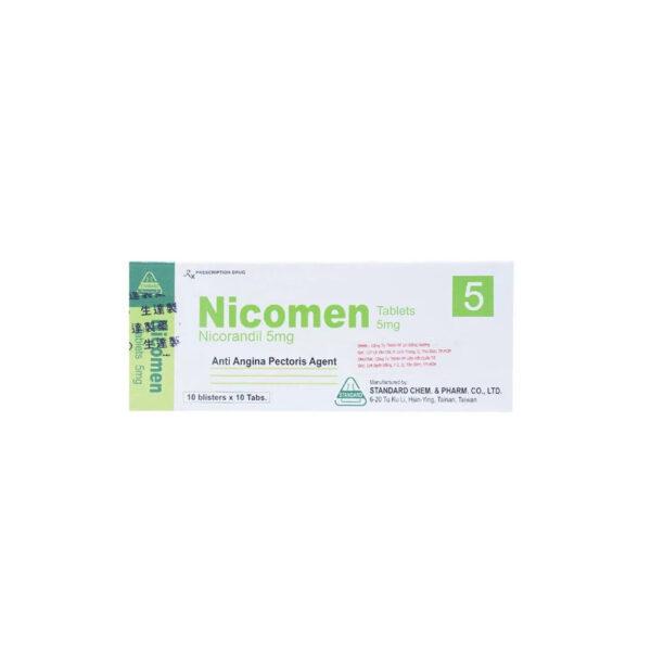 Thuốc Nicomen 5mg - Hộp 100 Viên - Trị Đau Thắt Ngực Hiệu Quả
